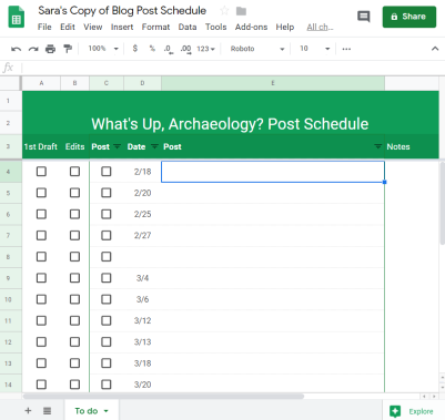 psot schedule