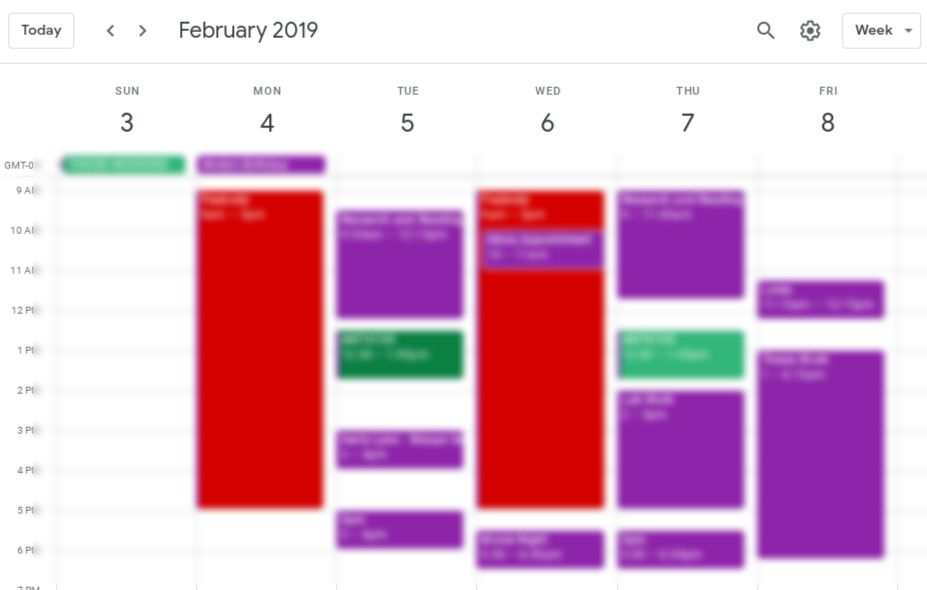Image of blurred-out calendar week showing February 3rd-8th