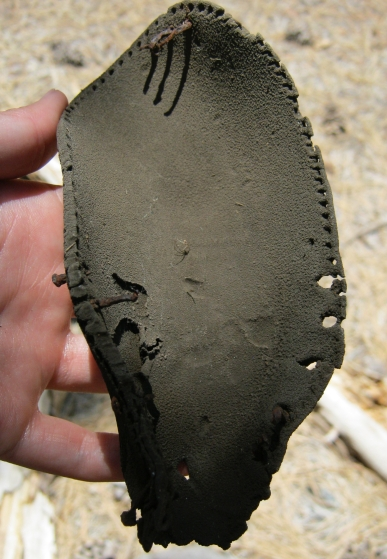 Historic leather sole of a shoe.