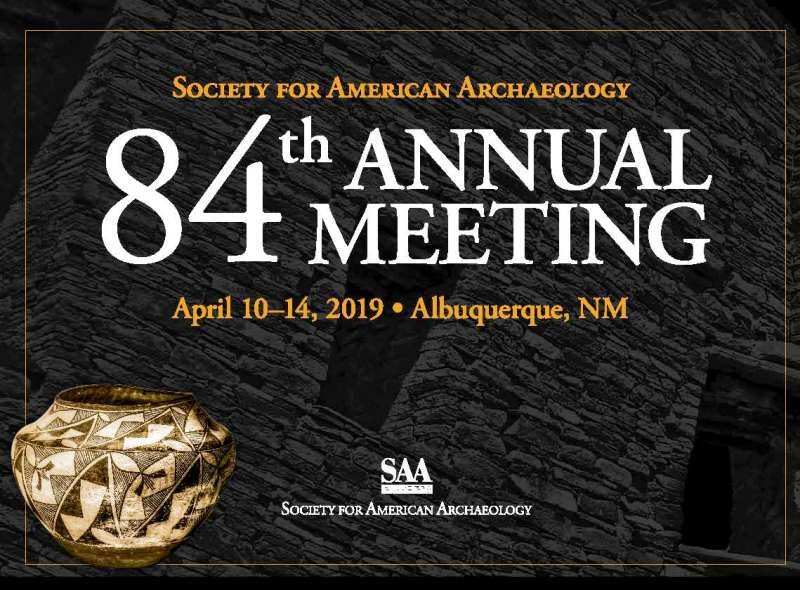 Logo for the 84th Annual meeting of the Society for American Archaeology, showing text with date and location information, and a southwestern black figure pot