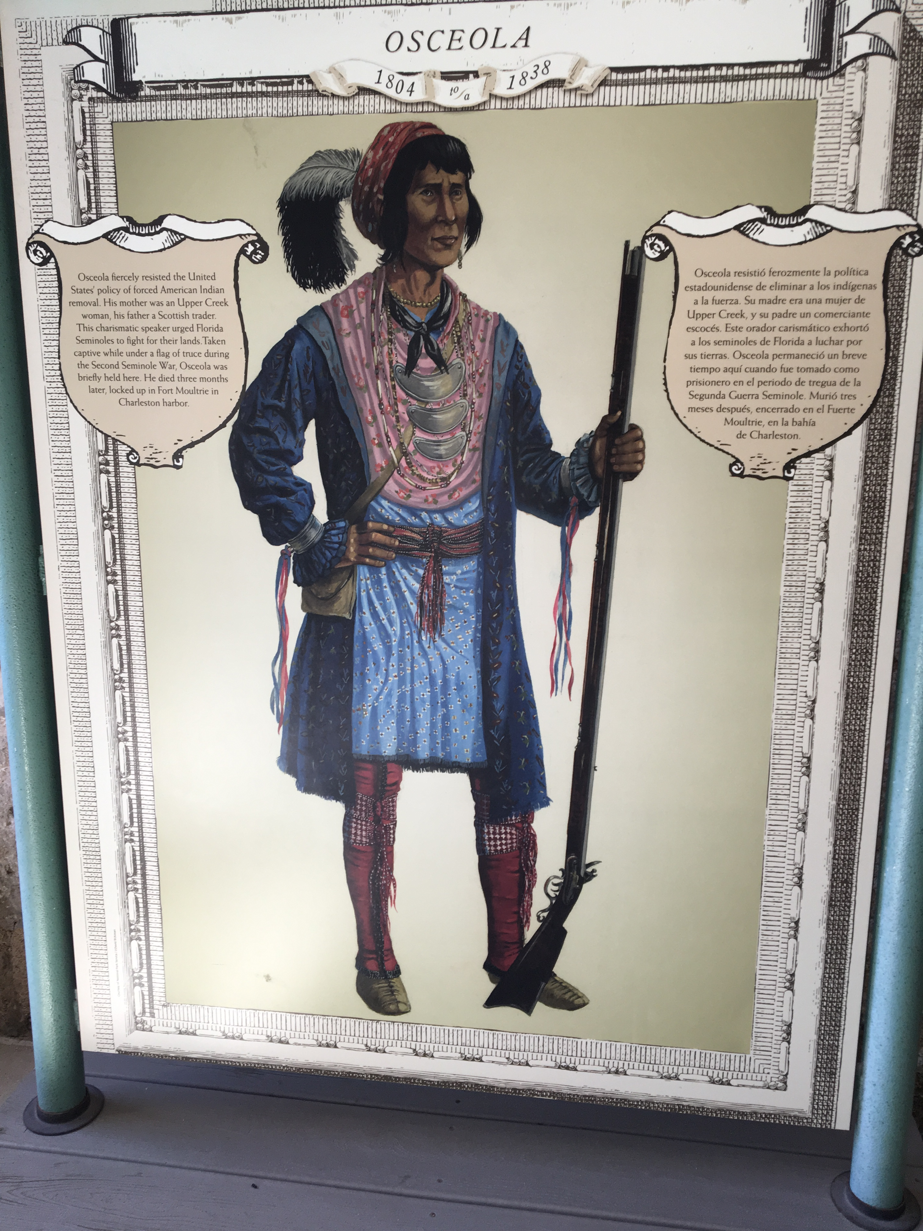 Image of NPS exhibit profile on Osceola, showing the Seminole military leader standing with a rifle.